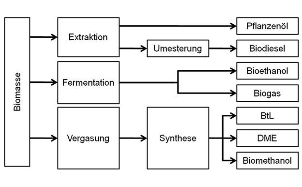 Biokraftstoffe Produktion Herstellung Methoden Pfade