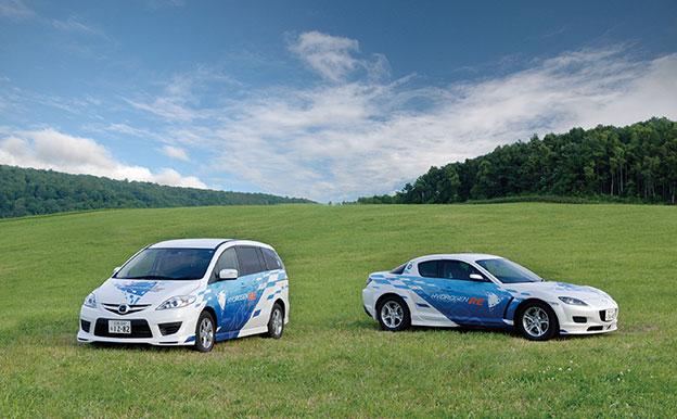 Mazda5 Hydrogen RE Hybrid und Mazda RX-8 Hydrogen RE