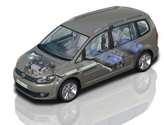 VW Touran 1.4 TSI EcoFuel: Beispiel Aufbau Erdgasanlage im Fahrzeug (Quelle: VW)