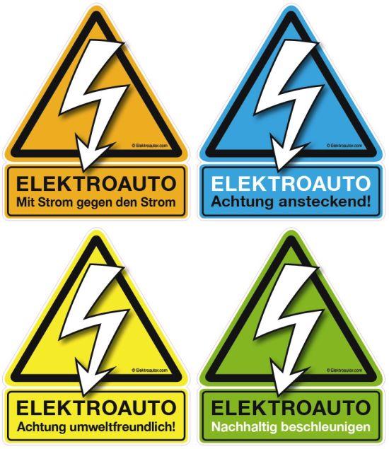 Das österreichische Elektroauto-Pickerl: 4 Sticker in 4 Farben mit 4 Sprüchen (Quelle: Elektroautor.com)