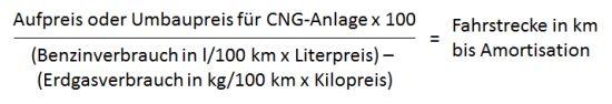Erdgas (CNG): Wann amortisiert sich eine Erdgas-Anlage? Formel zur Berechnung der Amortisationsdauer einer CNG-Anlage