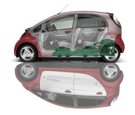 Mitsubishi i-MiEV: Batterie zwischen den Achsen, Elektromotor im Heck (Quelle: MITSUBISHI)