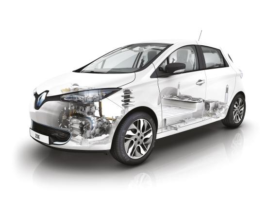 Renault ZOE: Die Batterie findet zwischen den Achsen im Unterboden ihren Platz (Quelle: Renault)
