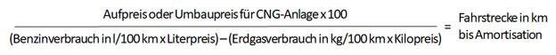 Erdgas CNG Kosten Amortisationsdauer Formel