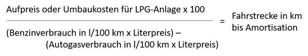 Autogas LPG Flüssiggas Amortisation Formel