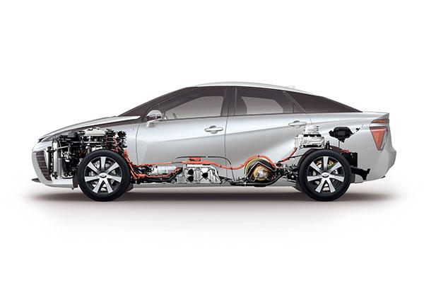 Toyota Mirai Brennstoffzellenauto Querschnitt