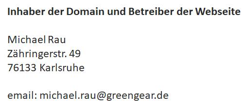 Impressum greengear.de